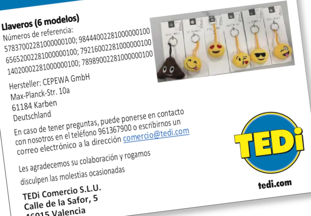 TEDi informa de la retirada de seis modelos de llaveros por riesgo de asfixia
