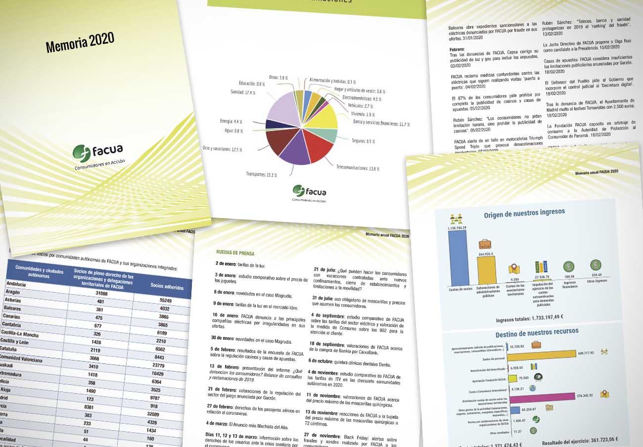 FACUA publica su 'Memoria 2020' con el balance de actuaciones y sus cuentas anuales