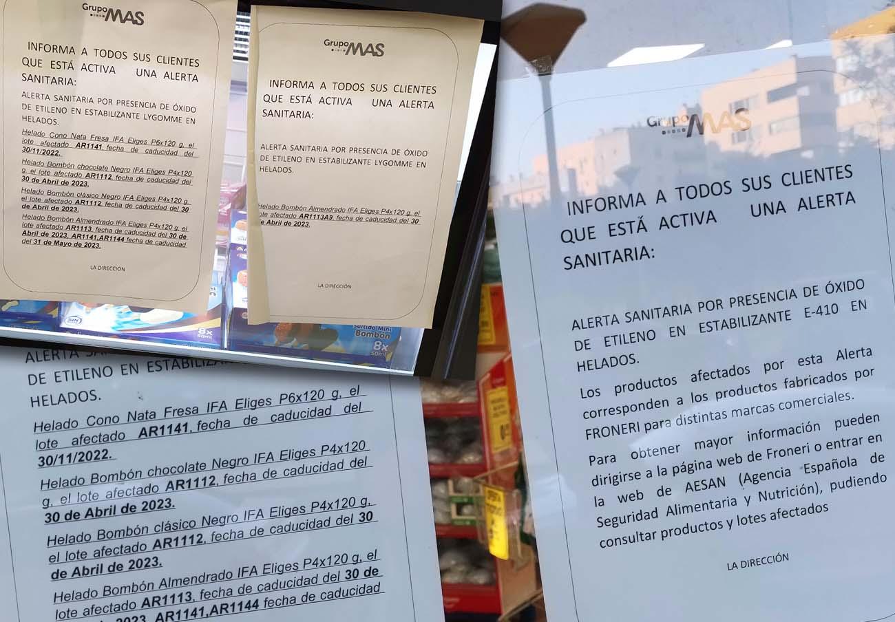 Carteles expuestos en distintos supermercados MAS.