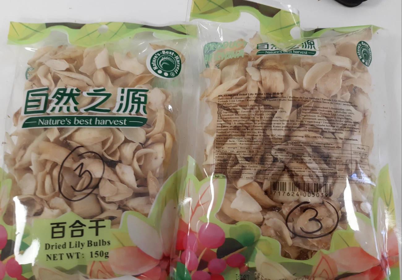 Alertan de sulfitos no declarados en bulbos de lirios secos de la marca Nature's Best Harvest
