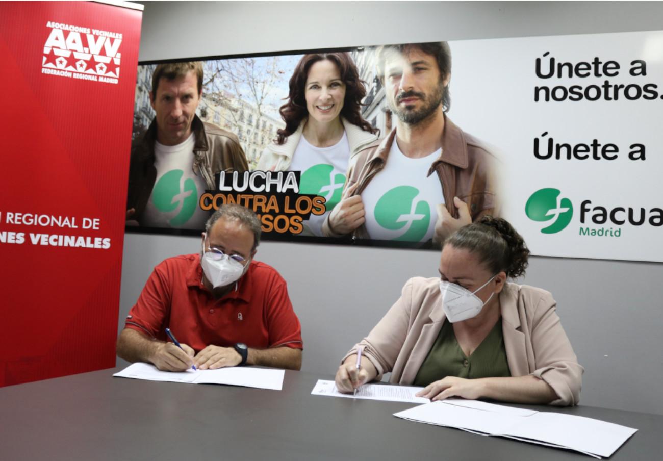 FACUA Madrid y la Federación Regional de Asociaciones Vecinales firman un convenio de colaboración