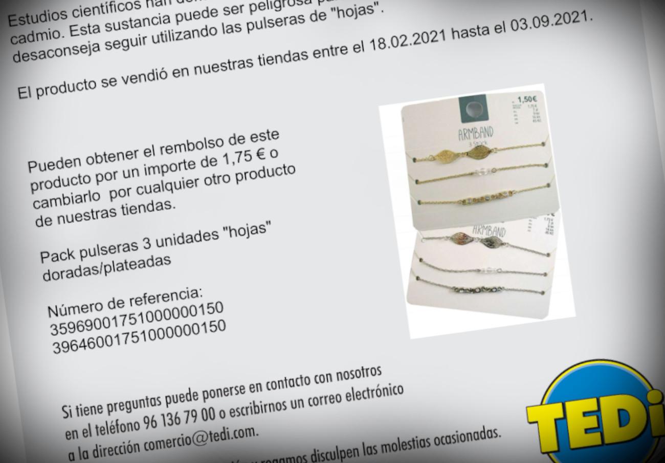 FACUA alerta de la retirada de unas pulseras de TEDi por sus elevados niveles de cadmio
