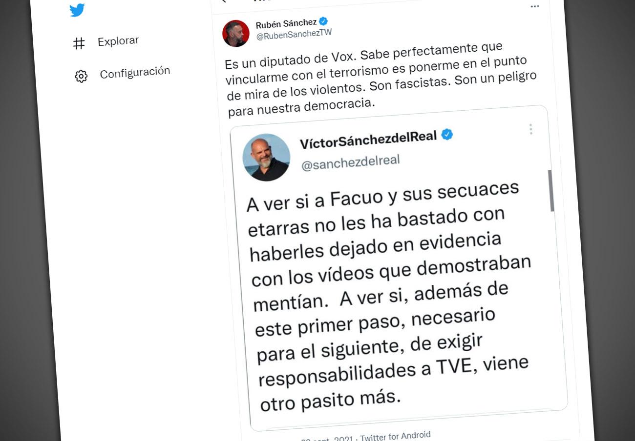 Un diputado de Vox inventa vínculos de Rubén Sánchez con el terrorismo y lo pone en la diana