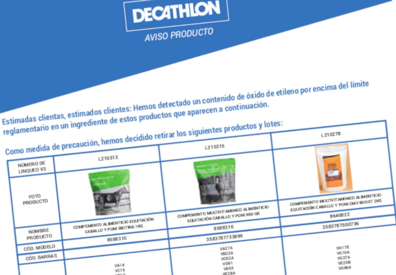 Decathlon anuncia la retirada de varios lotes de comida de caballo por contener óxido de etileno