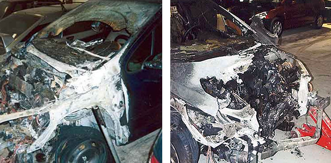 FACUA recibe dos casos de vehículos Peugeot 307 que se incendiaron de forma espontánea
