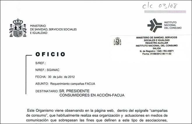El CCU no pedirá a Mato respeto al derecho de las asociaciones de consumidores a hablar de enseñanza y sanidad pública