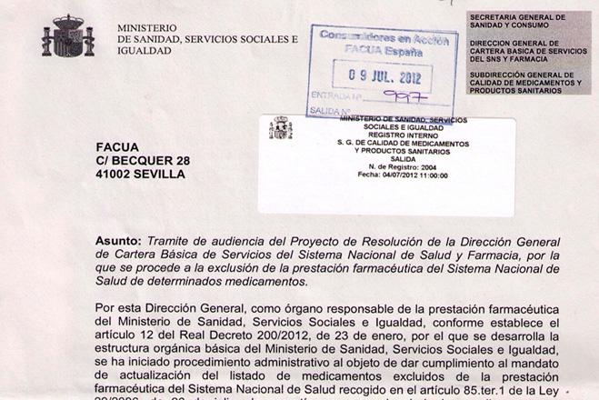 Sanidad pidió a FACUA su valoración del medicamentazo, pese a que ahora tacha de ilegal que opine