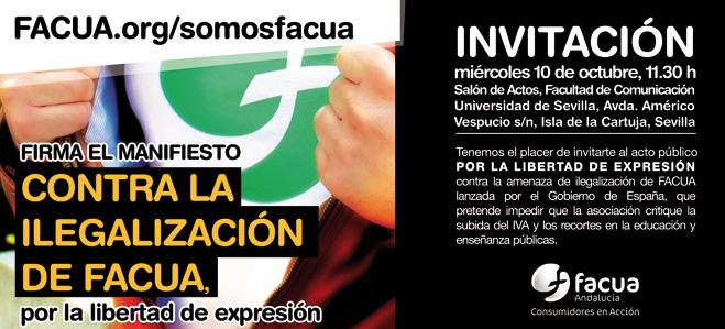 Acto público en la Facultad de Comunicación de Sevilla 'Por la libertad de expresión, contra la ilegalización de FACUA'