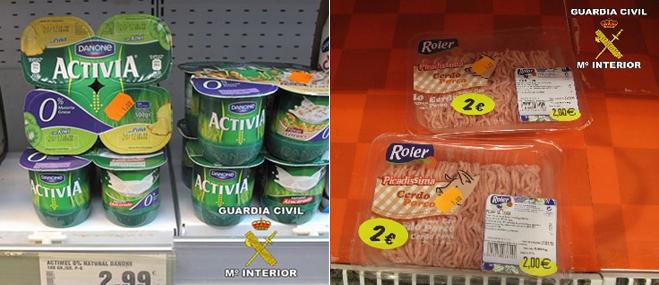 La Guardia Civil retira m�s de 200 productos caducados a la venta en una franquicia de D�a en Matalasca�as