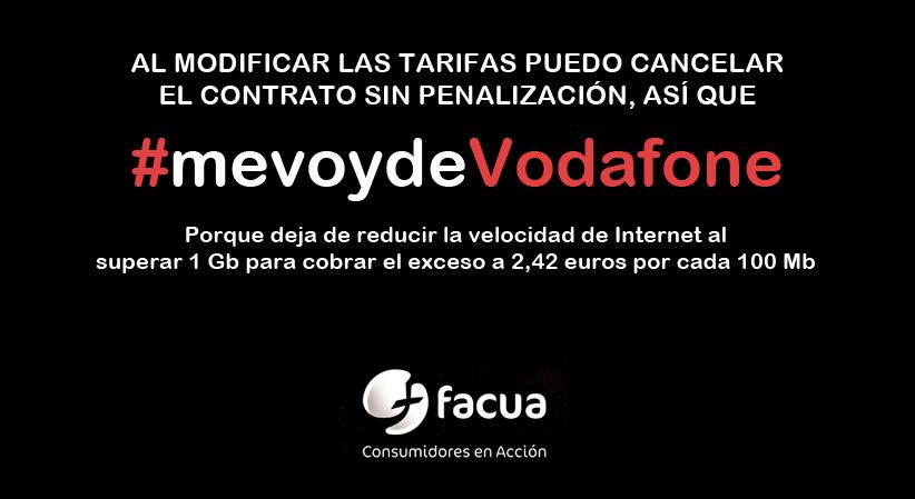 Al modificar las tarifas puedo cancelar el contrato sin penalización, así que #mevoydeVodafone