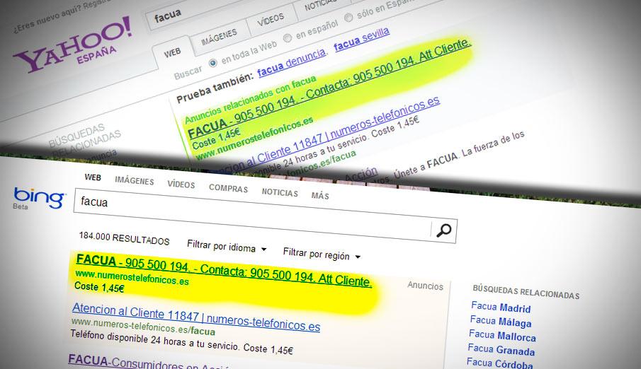 Una empresa se hace pasar por FACUA para lucrarse con una línea 905 publicitada en Yahoo! y Bing