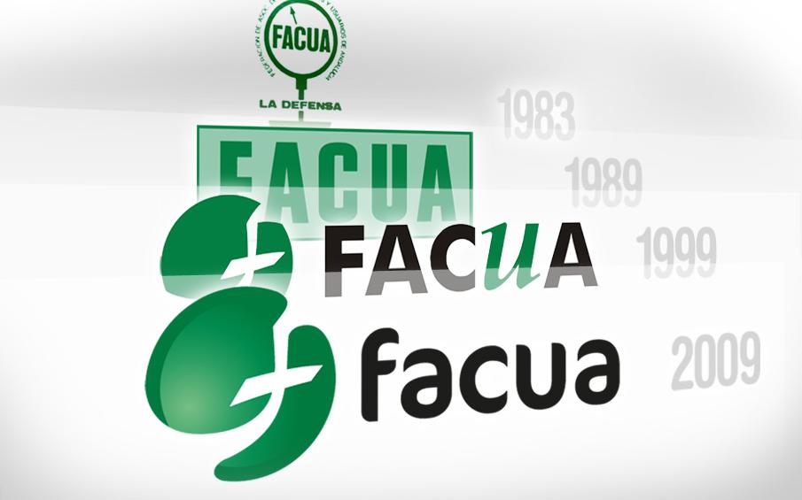 Los logotipos de FACUA en sus 30 a�os de historia