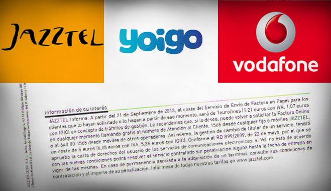 FACUA denuncia a Jazztel, Vodafone y Yoigo por incluir en sus contratos el cobro de recibos en papel