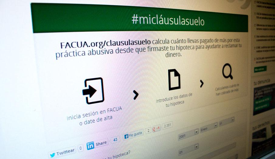 FACUA lanza #micláusulasuelo, un simulador que calcula cuánto se ha pagado de más en la hipoteca