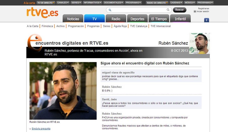 El portavoz de FACUA participa en un encuentro digital de RTVE.es