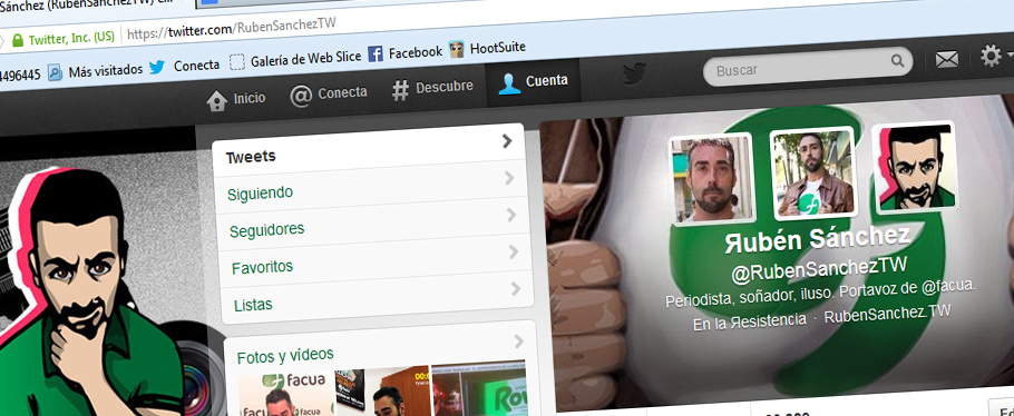 Inundan de miles seguidores falsos la cuenta de Twitter del portavoz de FACUA, @RubenSanchezTW