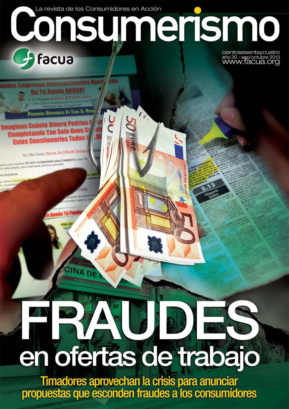'Fraudes en ofertas de trabajo', portada de la revista Consumerismo