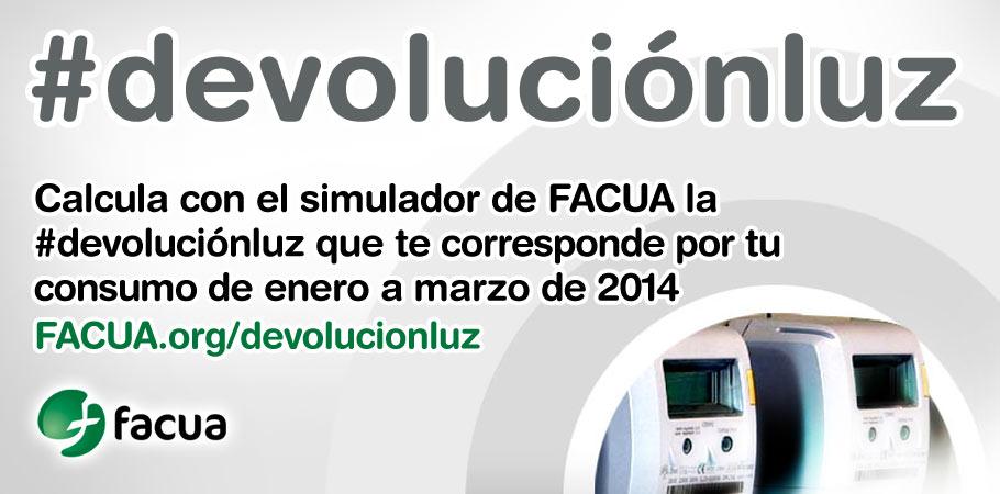 FACUA lanza #devoluciónluz, un simulador para calcular los reembolsos que deben realizar las eléctricas