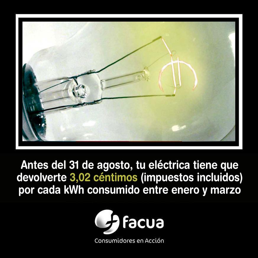 Tu eléctrica tiene que devolverte 3,02 céntimos por cada kWh consumido entre enero y marzo