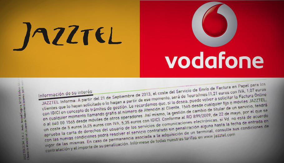 FACUA denuncia que Jazztel y Vodafone siguen incumpliendo la ley al cobrar por los recibos en papel