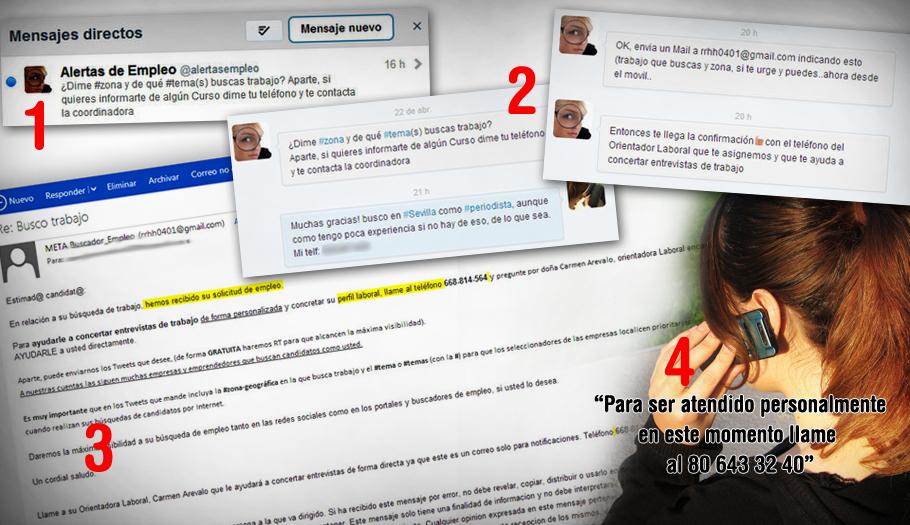 FACUA denuncia tres cuentas de Twitter dedicadas a ofertas de empleo que esconden un fraude con líneas 806