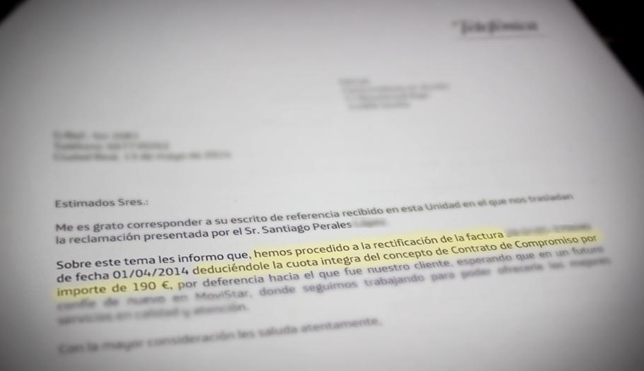 Movistar devuelve a un socio de FACUA 190 euros de un compromiso de permanencia incumplido por un día