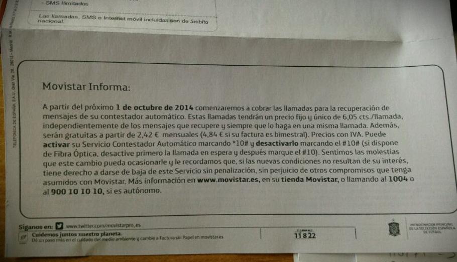 FACUA recuerda que el cobro del contestador de Movistar da derecho a cancelar las permanencias