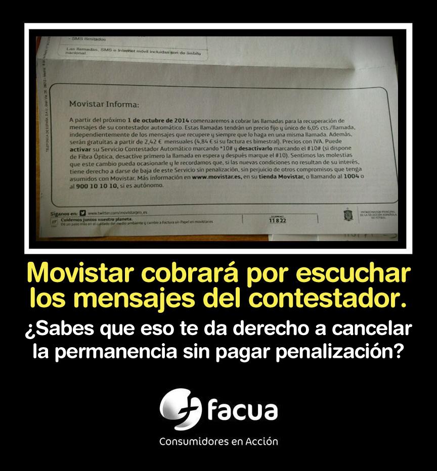 Movistar te cobrará por el contestador... y tú podrás cancelar la permanencia sin penalización