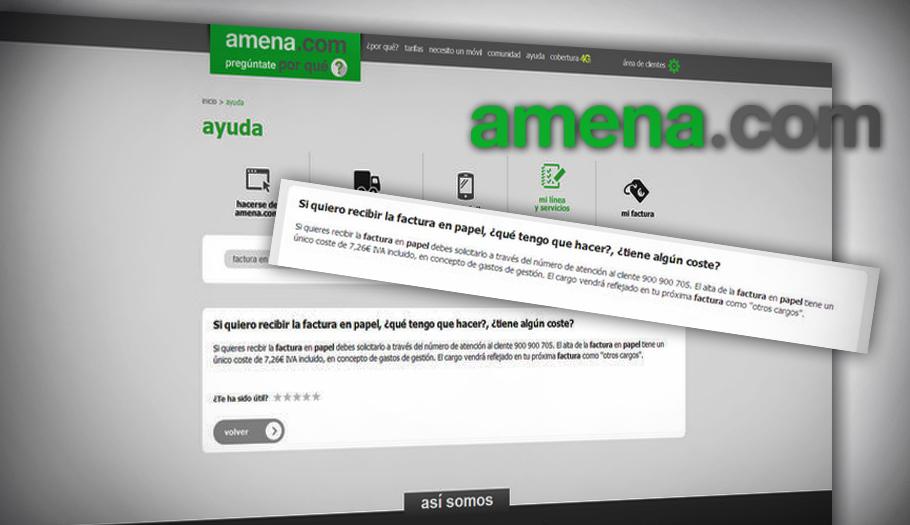 Amena incumple la ley al cobrar siete euros por los recibos en papel, denuncia FACUA