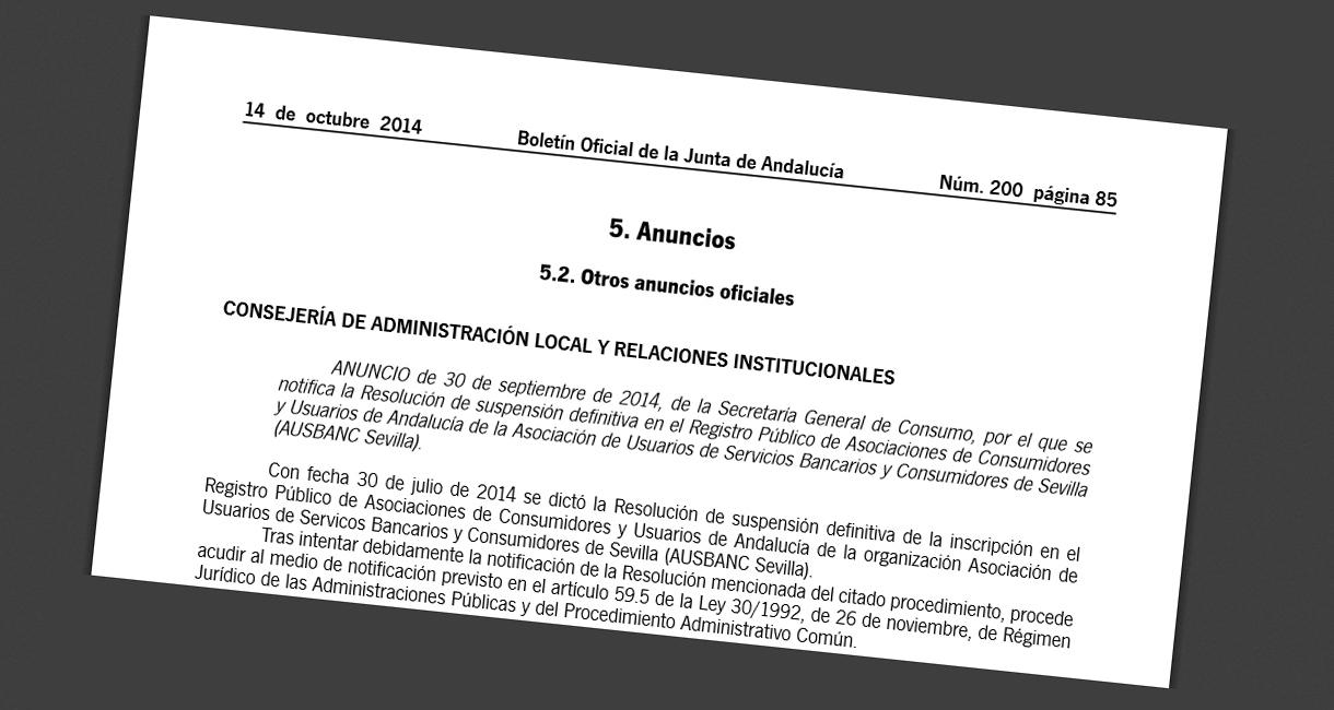 La Junta de Andalucía también expulsa al negocio Ausbanc del registro de asociaciones de consumidores