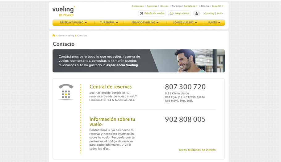 Spanish Ministry of Industry removes Vueling's illegal 807 premium rate number and the company changes it for a similar one