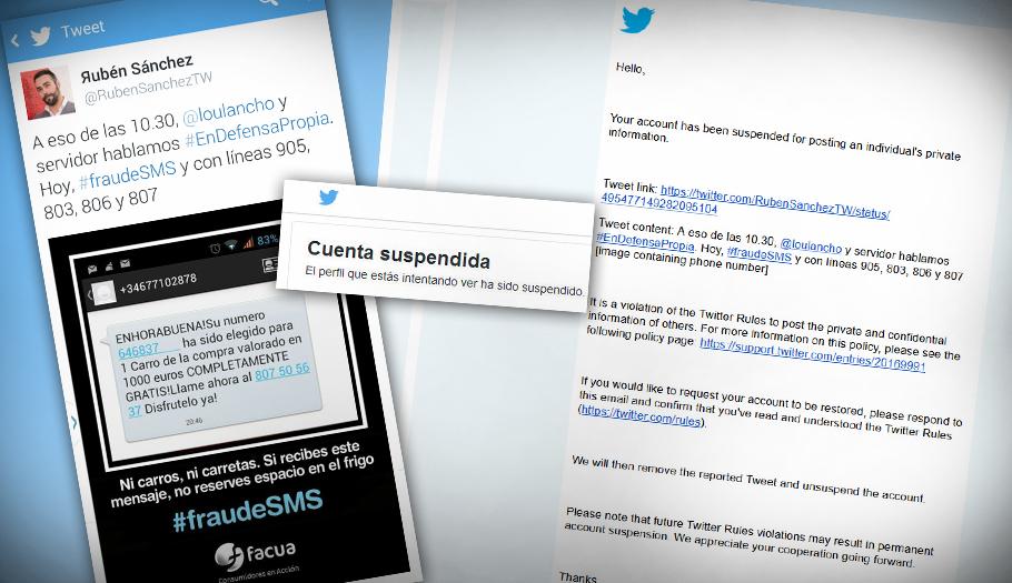 #censuraenTwitter Suspende la cuenta del portavoz de FACUA, @RubenSanchezTW, por informar de un fraude