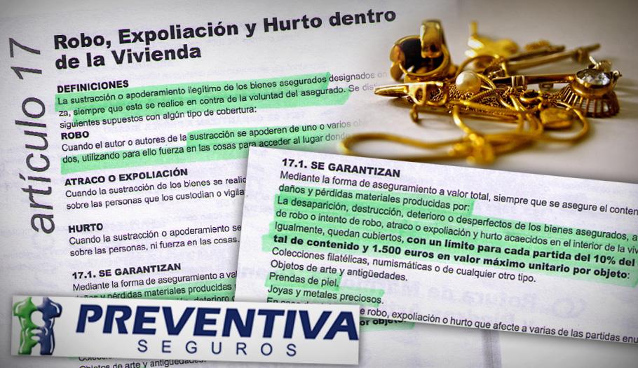 Preventiva de Seguros abona 2.133 euros por un robo de joyas tras la intervención de FACUA