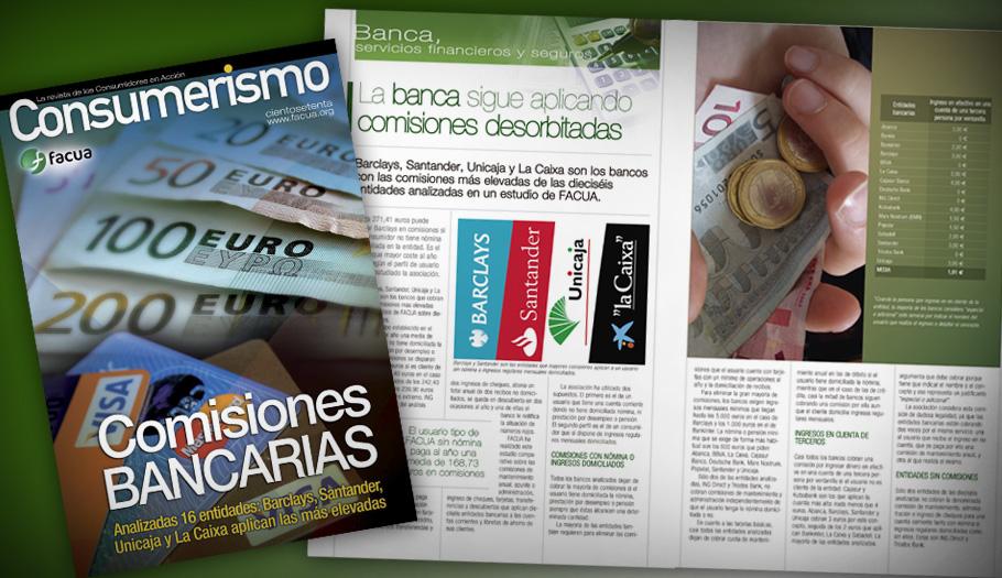 FACUA publica en su revista un análisis sobre las comisiones de 16 bancos: diferencias de hasta el 986%