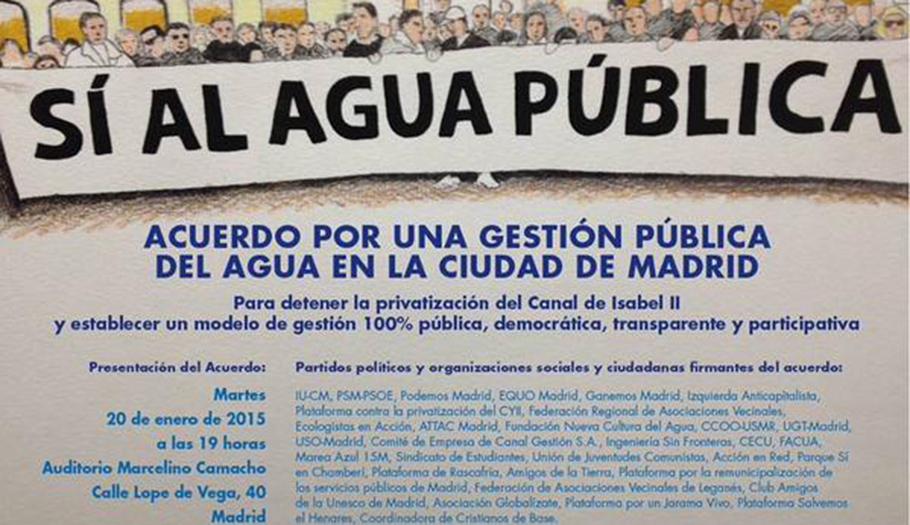Presentación del Acuerdo por una gestión pública del agua en Madrid, respaldado por FACUA Madrid