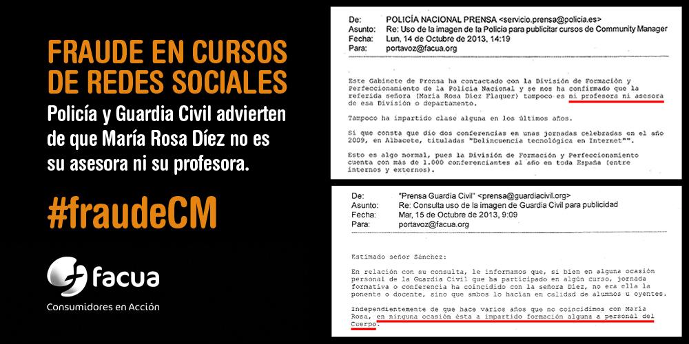 #fraudeCM en cursos de redes: @policia y @guardiacivil advierten de que @mariarosadiez no es su asesora