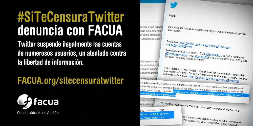 FACUA lanza la campaña #SiTeCensuraTwitter para que los usuarios denuncien la suspensión ilegal de cuentas