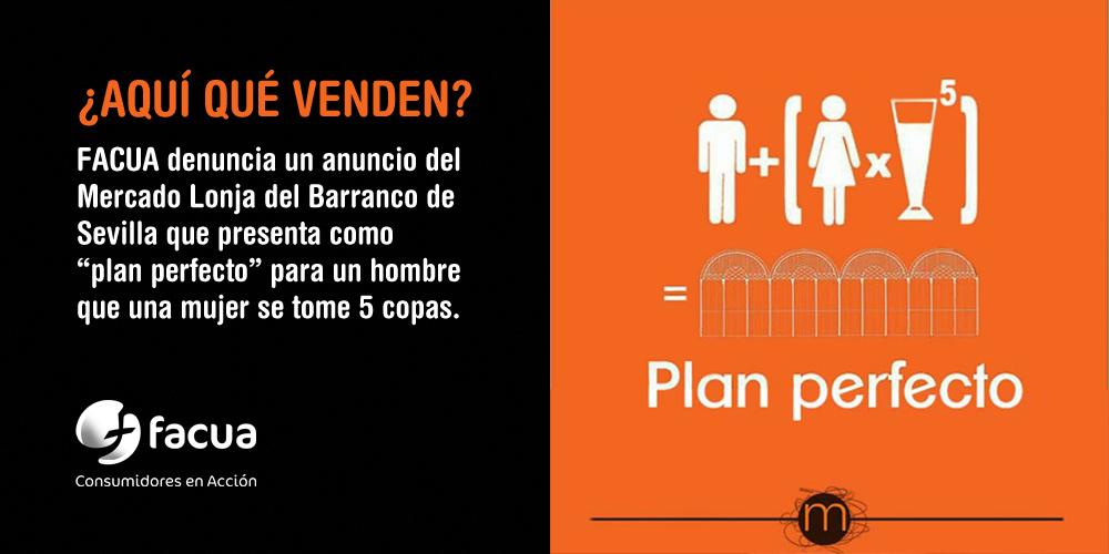 """FACUA denuncia un anuncio que presenta como """"plan perfecto"""" para un hombre que una mujer se tome 5 copas"""