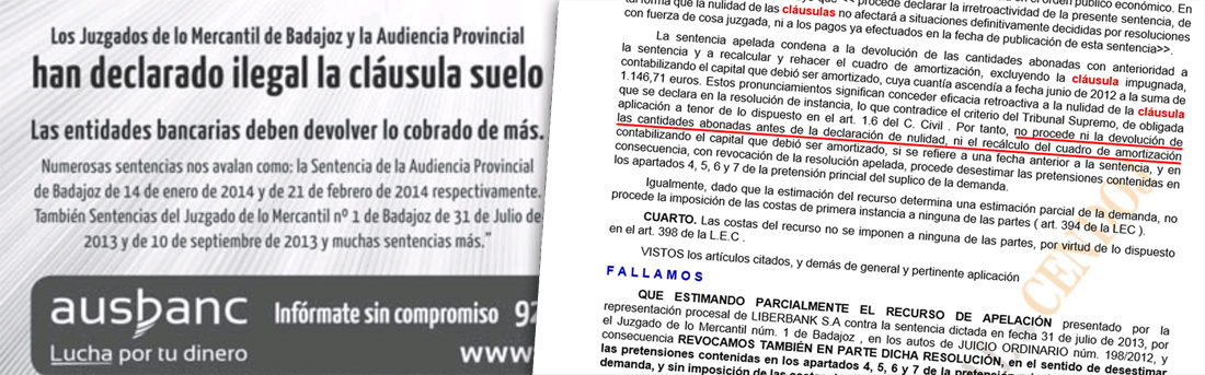 Facua denuncia a ausbanc por falsear dos sentencias de la for Cobrar clausula suelo