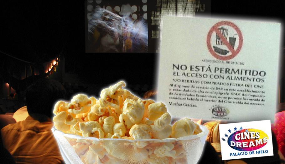 FACUA denuncia a Cines Dreams Palacio de Hielo de Madrid por no permitir comida ni bebida del exterior