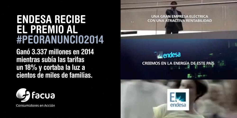La campaña de Endesa 'Creemos en la energía de este país' recibe el premio al #peoranuncio2014