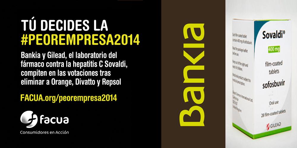 Bankia y Gilead, el laboratorio del Sovaldi, competirán en las votaciones a la #peorempresa2014