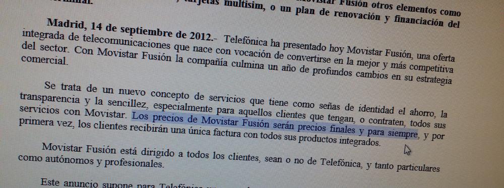 FACUA denuncia la subida de Movistar Fusión ante las autoridades de Consumo y Telecos #fraudeMovistar