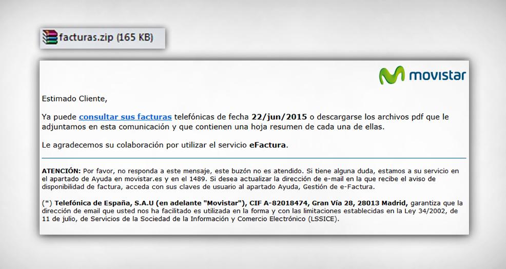 FACUA alerta del envío de un virus en un correo fraudulento que simula adjuntar una factura de Movistar