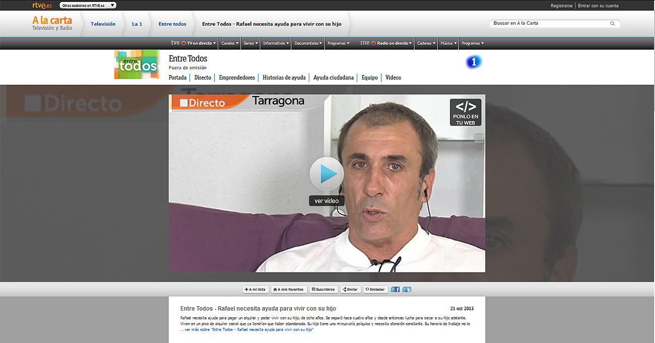 Tras la denuncia de FACUA, RTVE.es retira el vídeo de 'Entre todos' que aseguró haber eliminado en 2014