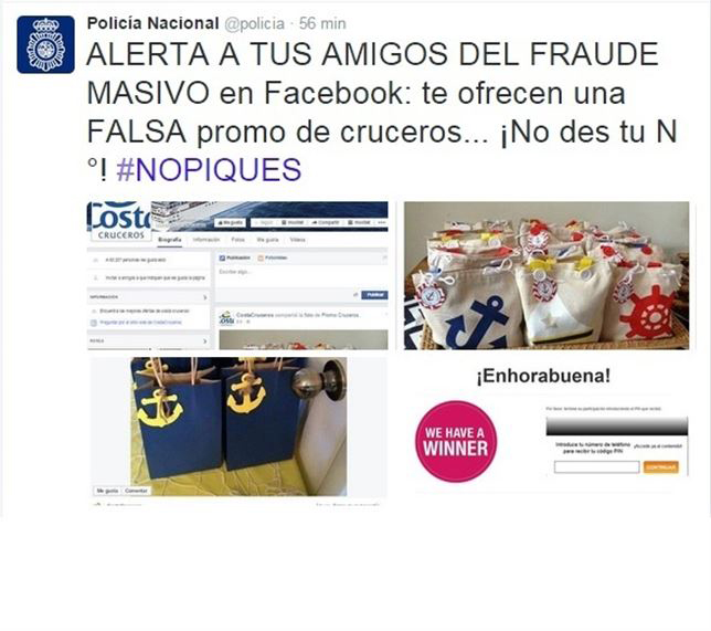 La Policía alerta de un fraude masivo en Facebook sobre ofertas de falsos viajes de Costa Cruceros
