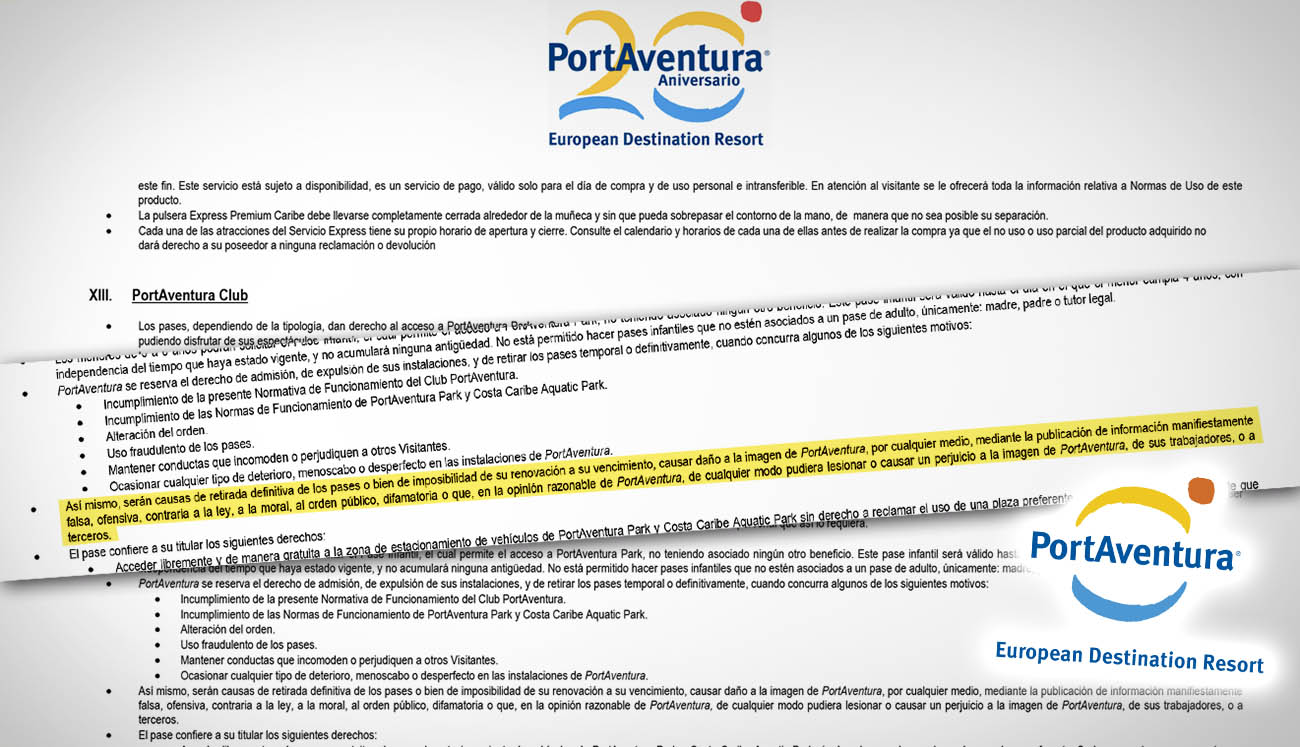 PortAventura amenaza con impedir la entrada a quienes critiquen al parque en las redes sociales