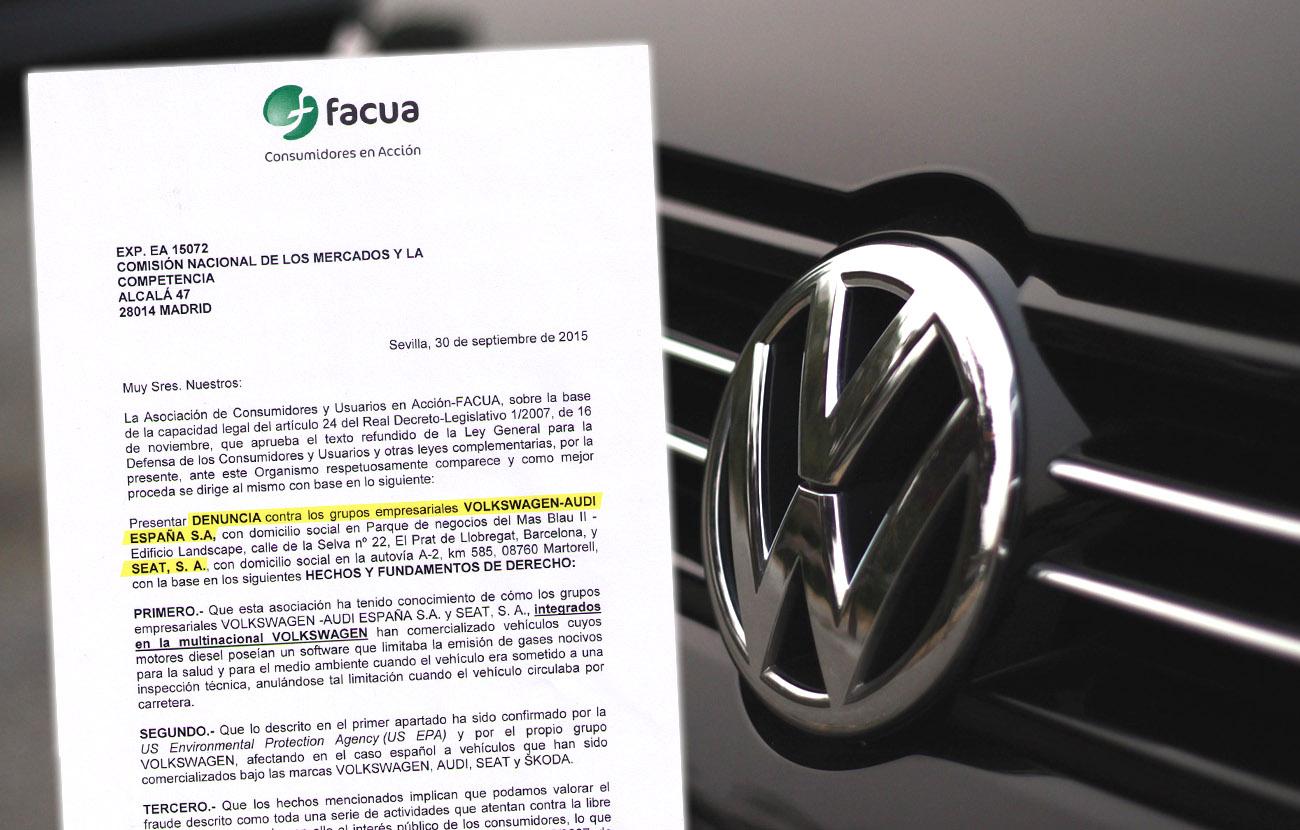 FACUA denuncia a Volkswagen-Audi y Seat ante la CNMC