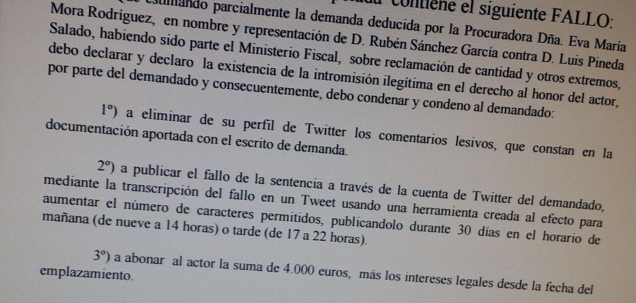 Sentencia pionera: @LuisPineda_ de Ausbanc deberá tuitear 30 días su condena por difamar a @RubenSanchezTW