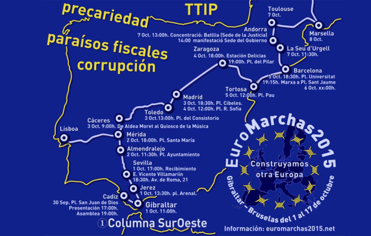 La Red Andalucía No al TTIP invita a la ciudadanía a participar en las EuroMarchas 2015